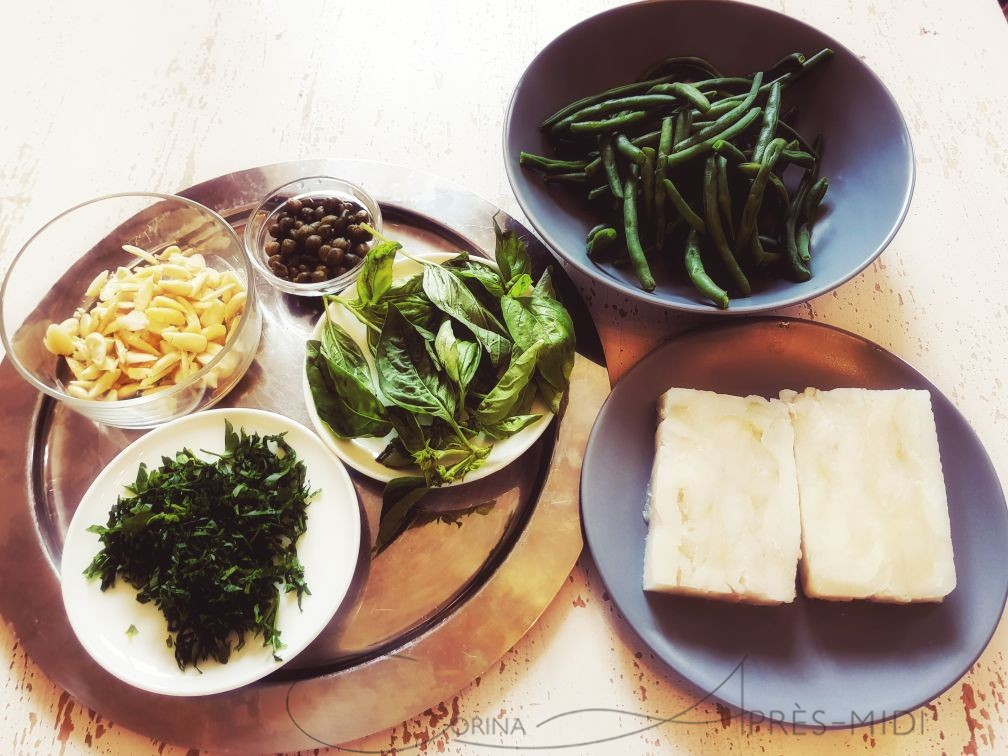 Salmon salad and baked halibut with green beans with Corina ApresMidi